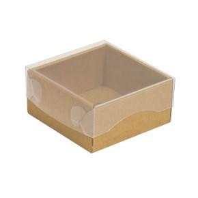 Dárková krabička s průhledným víkem 100x100x50/35 mm, kraftová - hnědá