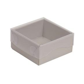Dárková krabička s průhledným víkem 100x100x50/35 mm, šedá