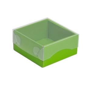 Dárková krabička s průhledným víkem 100x100x50/35 mm, zelená