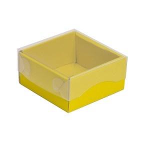 Dárková krabička s průhledným víkem 100x100x50/35 mm, žlutá