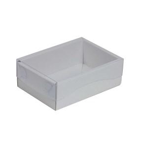 Dárková krabička s průhledným víkem 150x100x50/35 mm, bílá