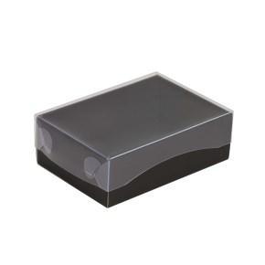 Dárková krabička s průhledným víkem 150x100x50/35 mm, černá