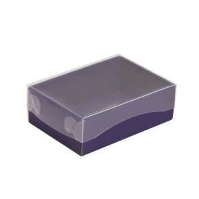 Dárková krabička s průhledným víkem 150x100x50/35 mm, fialová