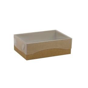 Dárková krabička s průhledným víkem 150x100x50/35 mm, hnědá - kraftová