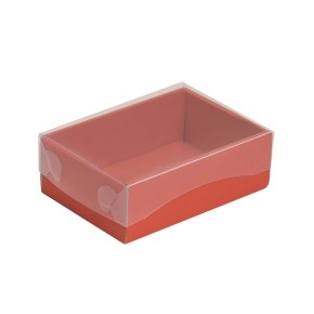 Dárková krabička s průhledným víkem 150x100x50/35 mm, korálová