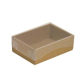 Dárková krabička s průhledným víkem 150x100x50/35 mm, kraftová - hnědá
