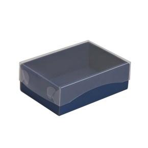 Dárková krabička s průhledným víkem 150x100x50/35 mm, modrá