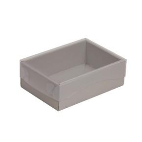 Dárková krabička s průhledným víkem 150x100x50/35 mm, šedá