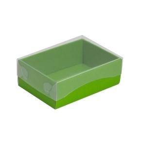 Dárková krabička s průhledným víkem 150x100x50/35 mm, zelená