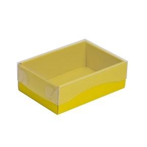 Dárková krabička s průhledným víkem 150x100x50/35 mm, žlutá