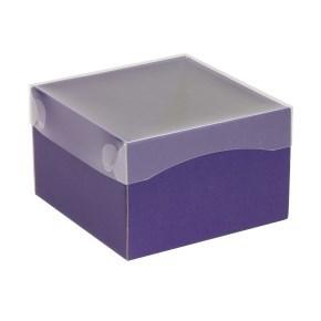 Dárková krabička s průhledným víkem 150x150x100/40 mm, fialová