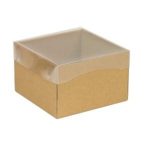 Dárková krabička s průhledným víkem 150x150x100/40 mm, hnědá - kraftová