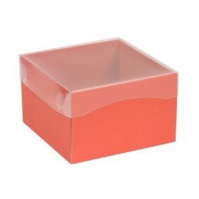 Dárková krabička s průhledným víkem 150x150x100/40 mm, korálová