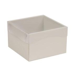 Dárková krabička s průhledným víkem 150x150x100/40 mm, šedá