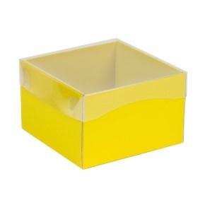 Dárková krabička s průhledným víkem 150x150x100/40 mm, žlutá