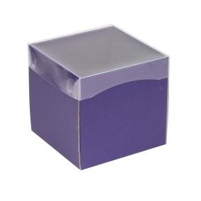 Dárková krabička s průhledným víkem 150x150x150/40 mm, fialová