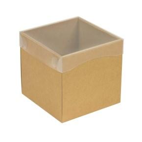 Dárková krabička s průhledným víkem 150x150x150/40 mm, hnědá - kraftová