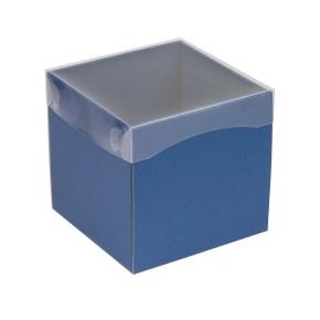 Dárková krabička s průhledným víkem 150x150x150/40 mm, modrá