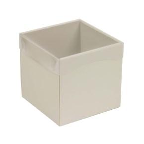 Dárková krabička s průhledným víkem 150x150x150/40 mm, šedá