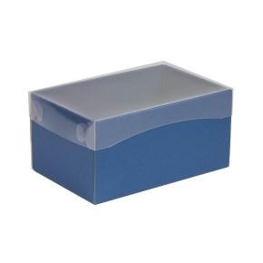 Dárková krabička s průhledným víkem 200x125x100/40 mm, modrá
