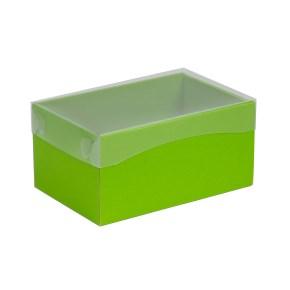 Dárková krabička s průhledným víkem 200x125x100/40 mm, zelená