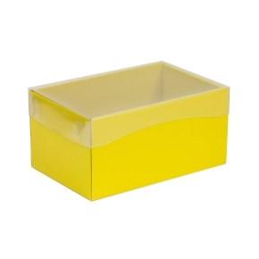 Dárková krabička s průhledným víkem 200x125x100/40 mm, žlutá