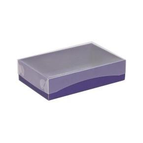 Dárková krabička s průhledným víkem 200x125x50/40 mm, fialová