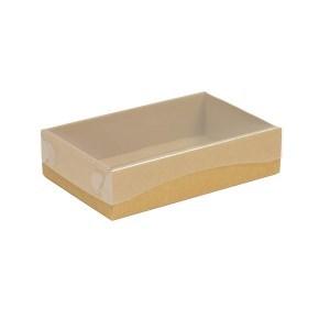 Dárková krabička s průhledným víkem 200x125x50/40 mm, hnědá - kraftová