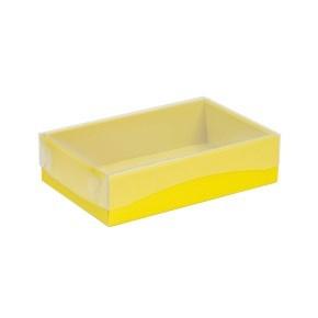 Dárková krabička s průhledným víkem 200x125x50/40 mm, žlutá