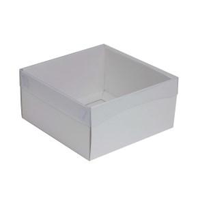 Dárková krabička s průhledným víkem 200x200x100/35 mm, bílá