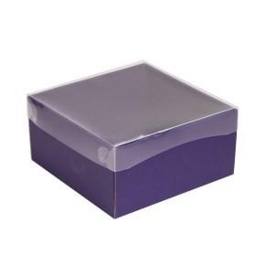 Dárková krabička s průhledným víkem 200x200x100/35 mm, fialová