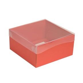 Dárková krabička s průhledným víkem 200x200x100/35 mm, korálová