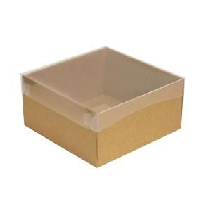 Dárková krabička s průhledným víkem 200x200x100/35 mm, kraftová - hnědá