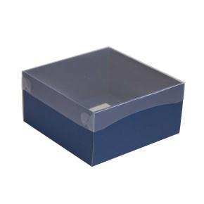Dárková krabička s průhledným víkem 200x200x100/35 mm, modrá