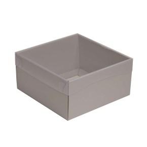 Dárková krabička s průhledným víkem 200x200x100/35 mm, šedá