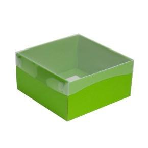 Dárková krabička s průhledným víkem 200x200x100/35 mm, zelená
