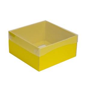 Dárková krabička s průhledným víkem 200x200x100/35 mm, žlutá