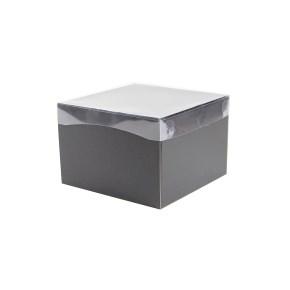 Dárková krabička s průhledným víkem 200x200x140/35 mm, černo šedá matná