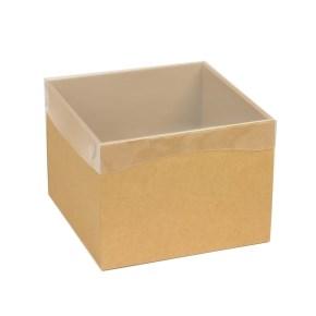 Dárková krabička s průhledným víkem 200x200x150/40 mm, hnědá - kraftová
