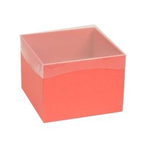 Dárková krabička s průhledným víkem 200x200x150/40 mm, korálová