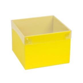 Dárková krabička s průhledným víkem 200x200x150/40 mm, žlutá
