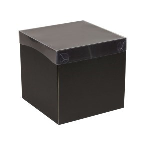 Dárková krabička s průhledným víkem 200x200x200/40 mm, černá