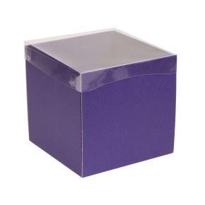 Dárková krabička s průhledným víkem 200x200x200/40 mm, fialová