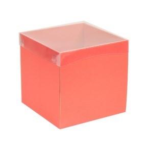 Dárková krabička s průhledným víkem 200x200x200/40 mm, korálová