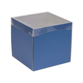 Dárková krabička s průhledným víkem 200x200x200/40 mm, modrá