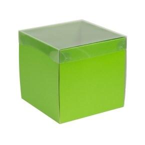 Dárková krabička s průhledným víkem 200x200x200/40 mm, zelená