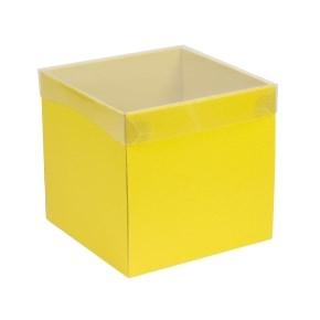 Dárková krabička s průhledným víkem 200x200x200/40 mm, žlutá