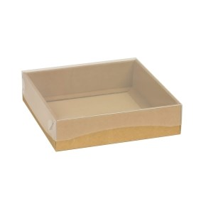 Dárková krabička s průhledným víkem 200x200x50/40 mm, hnědá - kraftová