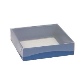 Dárková krabička s průhledným víkem 200x200x50/40 mm, modrá