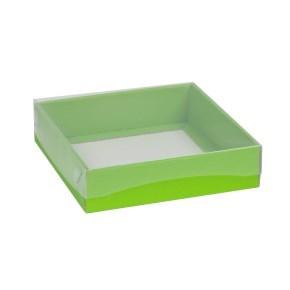 Dárková krabička s průhledným víkem 200x200x50/40 mm, zelená